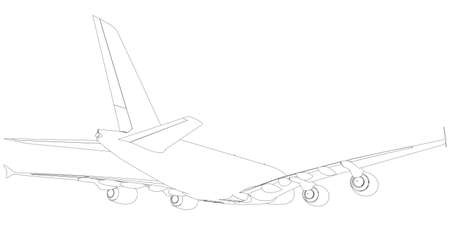 silhuette: Drawing of airplane. Rear view. Vector illustration rendering of 3d