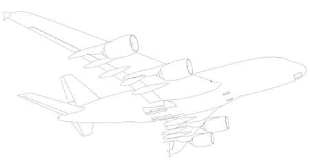 fuselage: Sketch of airplane. Bottom view. Isolated on white background. Vector Illustration rendering of 3d