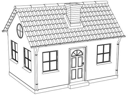 silhuette: Wire-frame house. Vector illustration rendering of 3d Illustration