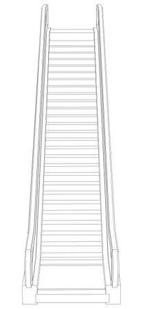 front view: Sketch of escalator. Front view. Vector illustration rendering of 3d Illustration