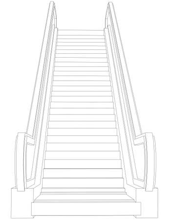 escalator: Wire-frame escalator. Front view. Vector illustration rendering of 3d