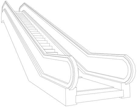 Drawing of wire-frame escalator. Perspective view. Vector illustration rendering of 3d