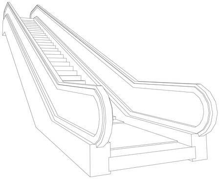 Wire-frame escalator. Vector illustration rendering of 3d