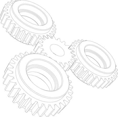 gearing: Four wire-frame gears. Perspective view. Vector illustration rendering of 3d
