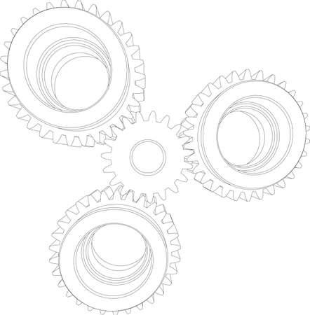 front view: Four wire-frame gears. Front view. Vector illustration rendering of 3d