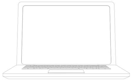 front view: Wire-frame open laptop. Front view. Vector illustration rendering of 3d Illustration