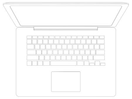 silhuette: Drawing of wire-frame open laptop. Top view. Vector illustration rendering of 3d Illustration