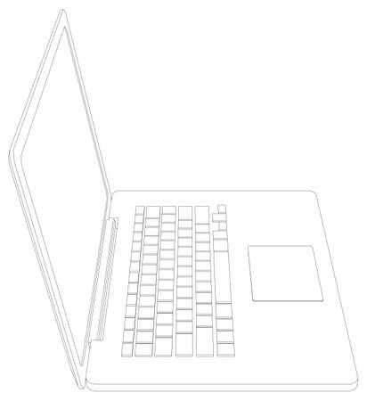 silhuette: Wire-frame open laptop. Front view. Vector illustration rendering of 3d Illustration
