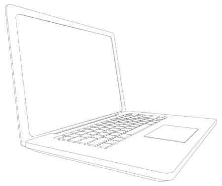 ワイヤー フレーム オープン ラップトップ。分析観点ビュー。3 d のベクトル図のレンダリング