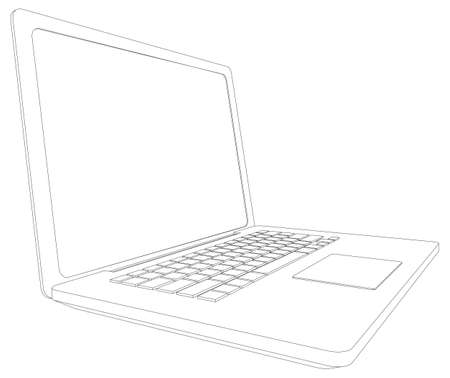 Wire-frame open laptop. Perspective view. Vector illustration rendering of 3d Illustration