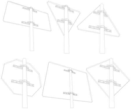 rear view: Set of wire-frame road signs. Rear view. Vector illustration rendering of 3d