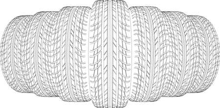 vulcanization: Wedge of seven wire-frame tires. Vector illustration rendering of 3d