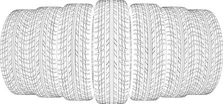 tire cover: Drawing of seven wire-frame tires. Vector illustration rendering of 3d Illustration