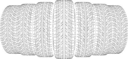 vulcanization: Drawing of seven wire-frame tires. Vector illustration rendering of 3d Illustration
