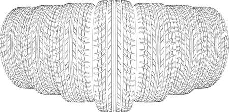 tire cover: Sketch of seven wire-frame tires. Vector illustration rendering of 3d Illustration