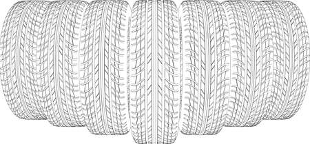 tire cover: Seven wire-frame tires. Vector illustration rendering of 3d Illustration