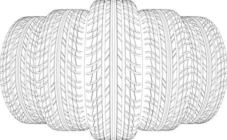tire cover: Wedge of five wire-frame tires. Vector illustration rendering of 3d