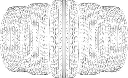 Drawing of five wire-frame tires. Vector illustration rendering of 3d