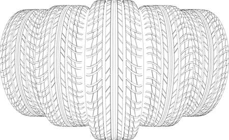 Sketch of five wire-frame tires. Vector illustration rendering of 3d