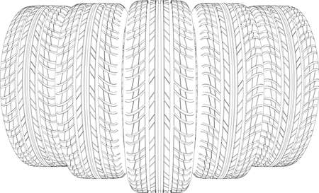 tire cover: Five wire-frame tires. Vector illustration rendering of 3d