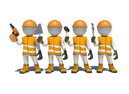 workteam: White man in special clothes, shoes and helmet holding tools. Isolated on white background Stock Photo