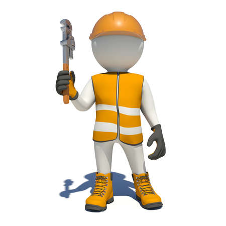 adjustable: White man in special clothes with adjustable spanner in hand. Isolated on white background