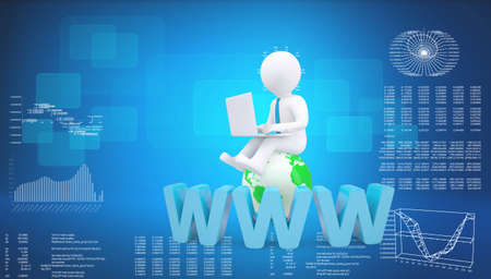 Graphic man with tie sitting on globe. Background of letters www and virtual screens, blue background photo