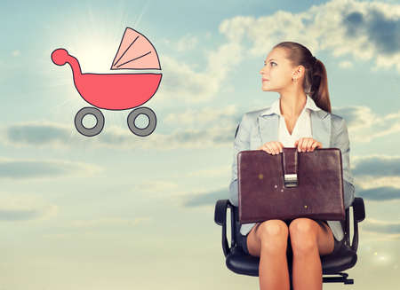 imagines: Business woman in skirt, blouse and jacket, sitting on chair and holding briefcase imagines buggy. Against background of sky and clouds