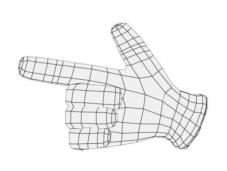 Wire-frame hand pointing finger. Front view. Isolated render on white background photo