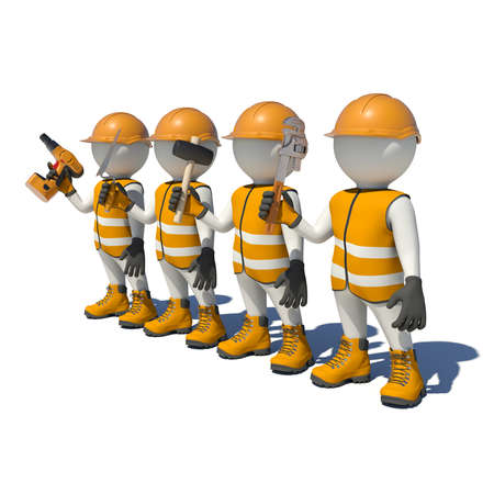 workteam: Workteam in special clothes, shoes and helmet holding tools. Isolated on white background