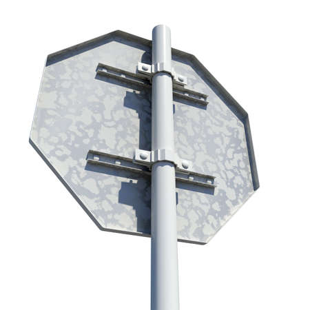 Octagonal road sign. Rear view. Isolated on white background Stock Photo