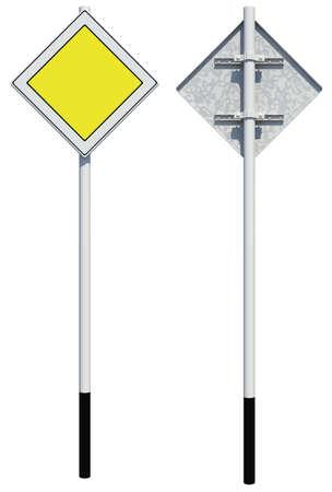 back view: Square yellow road sign. Front and back view. Isolated on white background