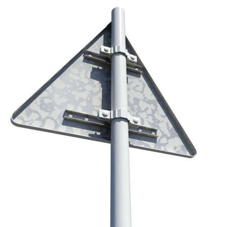 rear: Triangle road sign. Rear view. Isolated on white background