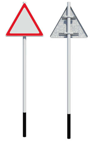 back view: Triangle road sign. Front and back view. Isolated on white background Stock Photo