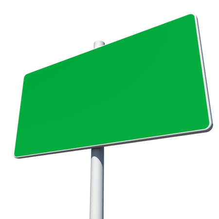green road sign: Rectangle green road sign. Isolated on white background