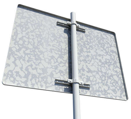 rear view: Rectangle road sign. Rear view. Isolated on white background