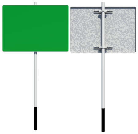 back view: Rectangle green road sign. Front and back view. Isolated on white background