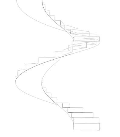 escaleras en espiral de vista frontal aislado en el fondo blanco