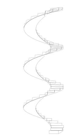 spiral stairs: Wire-frame spiral stairs. Front view. Three full turns. Isolated on white background Stock Photo