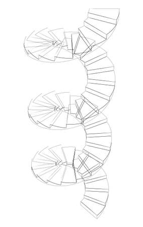 spiral stairs: Wire-frame spiral stairs. Perspective view. Isolated on white background Stock Photo