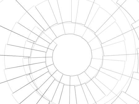 spiral stairs: Wire-frame spiral stairs. Top view. Render on white background