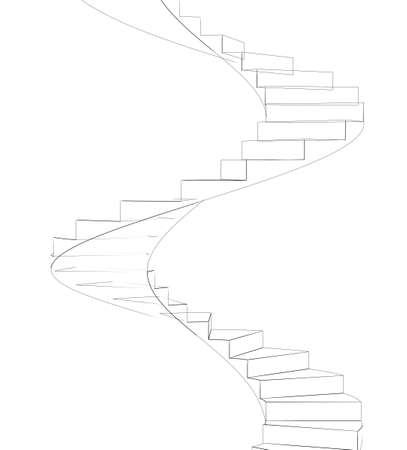 spiral stairs: Wire-frame spiral stairs. Front view. Isolated on white background