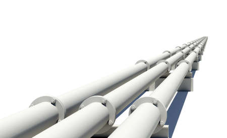 steel background: White industrial pipes stretching into distance. Isolated on white background Stock Photo