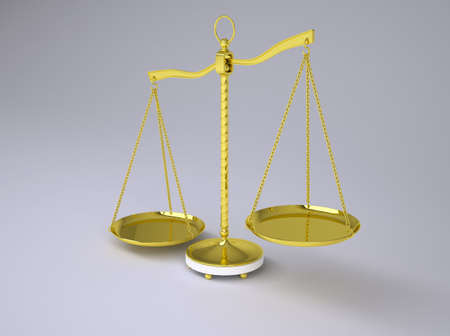 fair trial: Gold beam balance with shadow. Concept of fair trial. Gray background