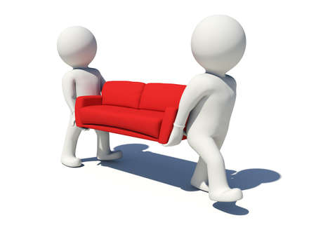 red sofa: Two white people carrying red sofa. Isolated render on white background