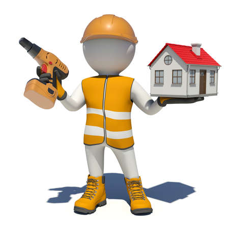 Worker in vest, shoes and helmet holding screwdriver and small house. Isolated render on white background photo