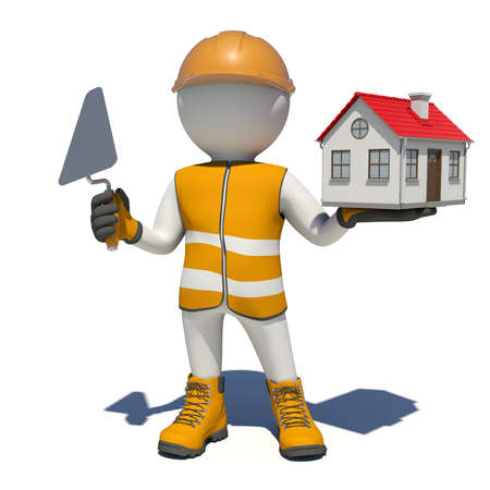 vest in isolated: Worker in vest, shoes and helmet holding trowel and small house. Isolated render on white background