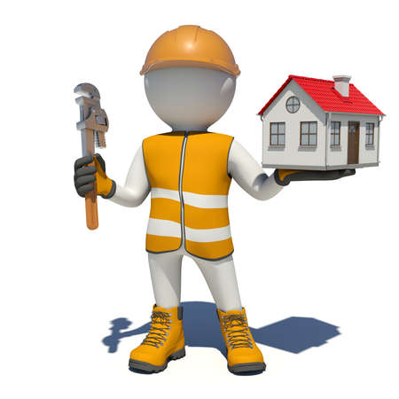 vest in isolated: Worker in vest, shoes and helmet holding wrench and small house. Isolated render on white background