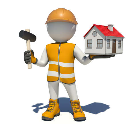 Worker in vest, shoes and helmet holding hammer and small house. Isolated render on white background photo