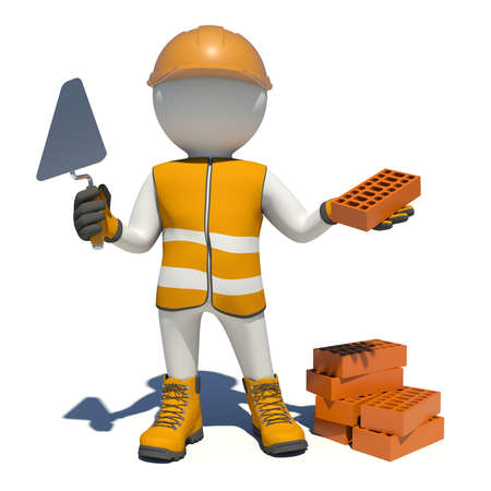 vest in isolated: Worker in vest, shoes and helmet holding trowel and red brick. Stack of bricks located next. Isolated render on white background